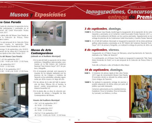 PROGRAMACION MUSEOS TARANCON FIESTAS 2017