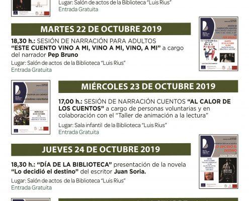 cartel programación semana libro otoño 2019